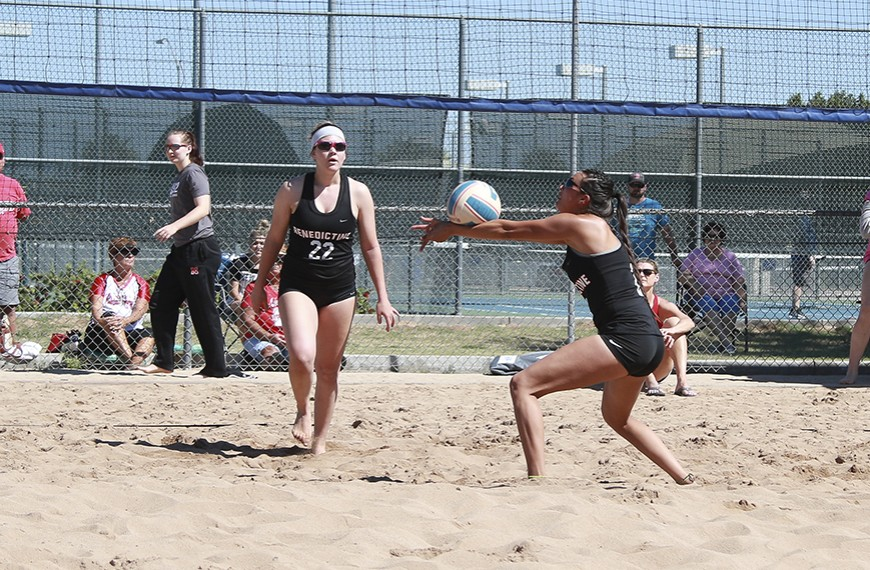 Photo for Beach volleyball has tough go of it against Division 1 opponents in Cali